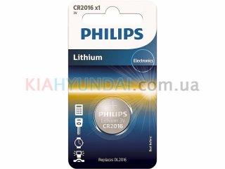 Батарейка CR2016 литиевая 3V Philips CR2016/01B