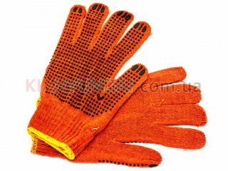 Перчатки с ПВХ точкой (оранжевые) WG02